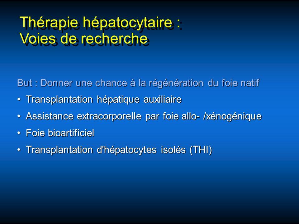 Thérapie hépatocytaire : Voies de recherche Thérapie hépatocytaire : Voies de recherche But : Donner une chance à la régénération du foie natif Transp