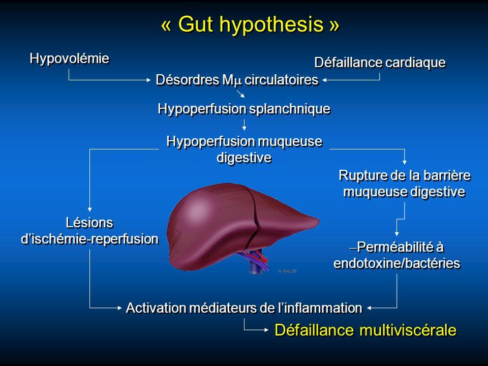 « Gut hypothesis » Hypovolémie Défaillance cardiaque Désordres M circulatoires Hypoperfusion splanchnique Hypoperfusion muqueuse digestive Rupture de