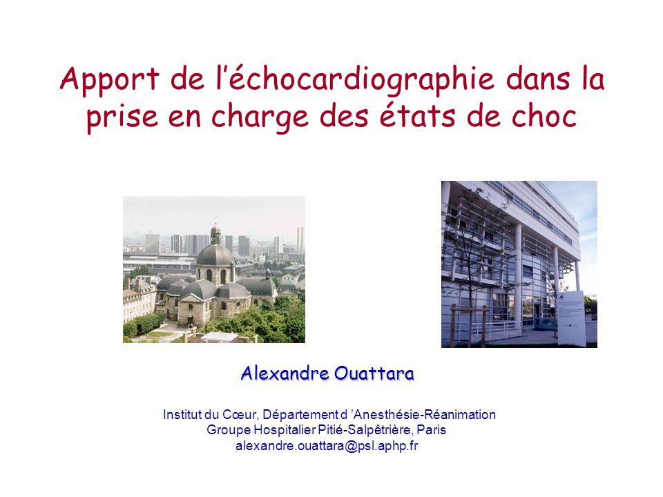 Apport de léchocardiographie dans la prise en charge des états de choc Alexandre Ouattara Institut du Cœur, Département d Anesthésie-Réanimation Group