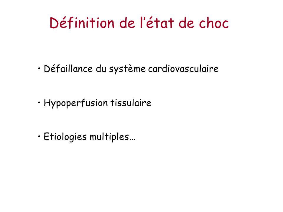 Définition de létat de choc Défaillance du système cardiovasculaire Hypoperfusion tissulaire Etiologies multiples…