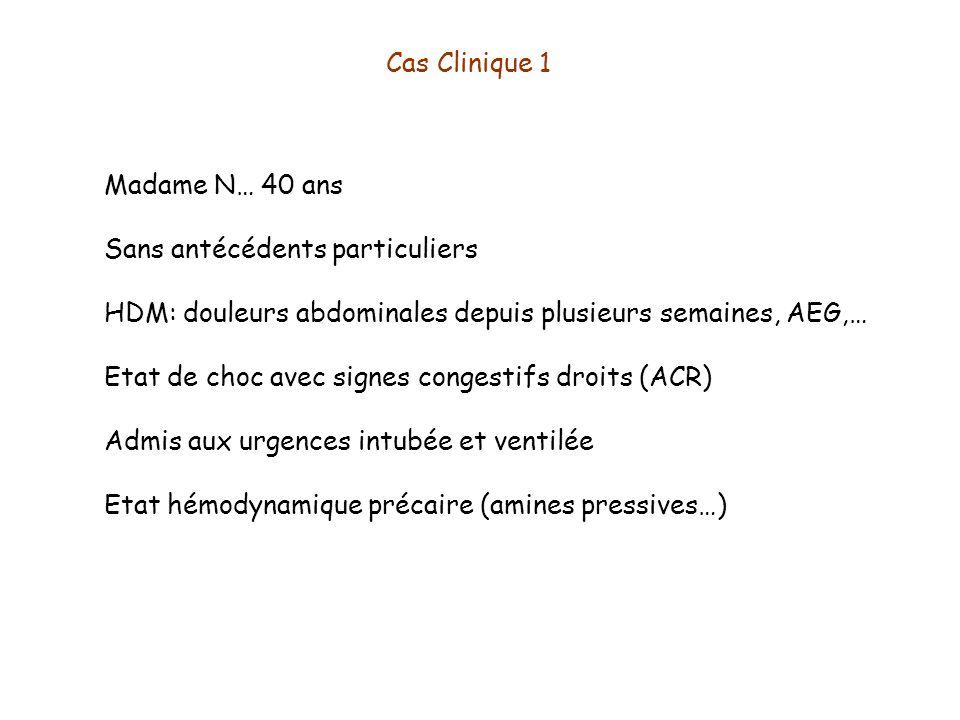 Cas Clinique 1 Madame N… 40 ans Sans antécédents particuliers HDM: douleurs abdominales depuis plusieurs semaines, AEG,… Etat de choc avec signes cong