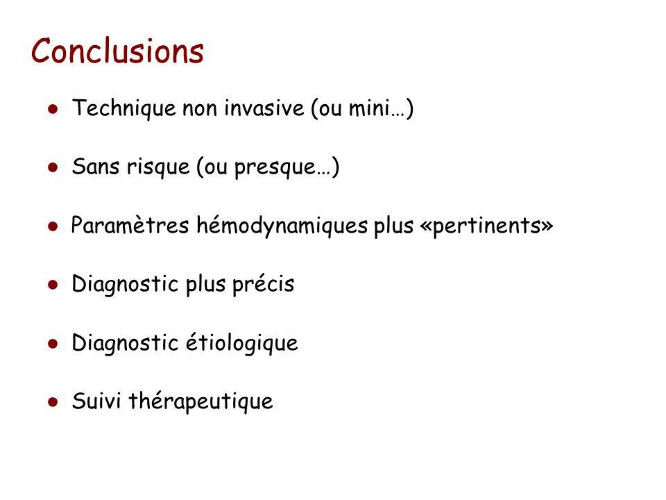 Conclusions Technique non invasive (ou mini…) Sans risque (ou presque…) Paramètres hémodynamiques plus «pertinents» Diagnostic plus précis Diagnostic