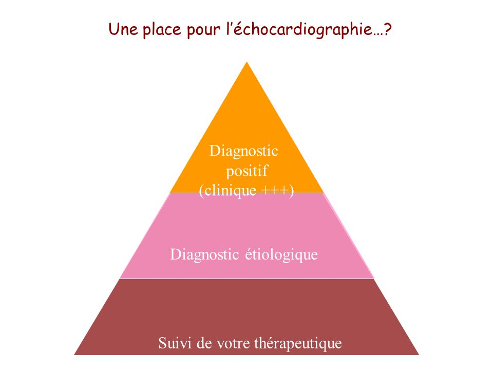 Suivi de votre thérapeutique Diagnostic étiologique Diagnostic positif (clinique +++) Une place pour léchocardiographie…?