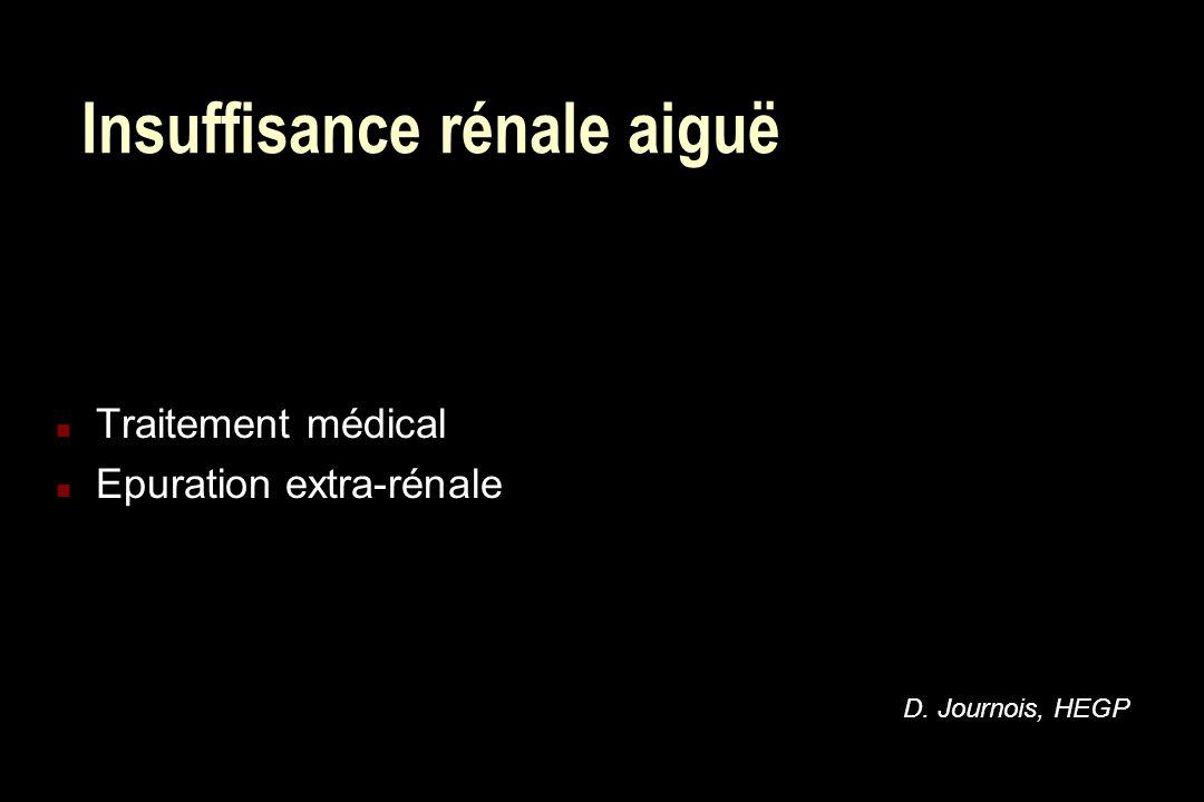 Insuffisance rénale aiguë n Traitement médical n Epuration extra-rénale D. Journois, HEGP