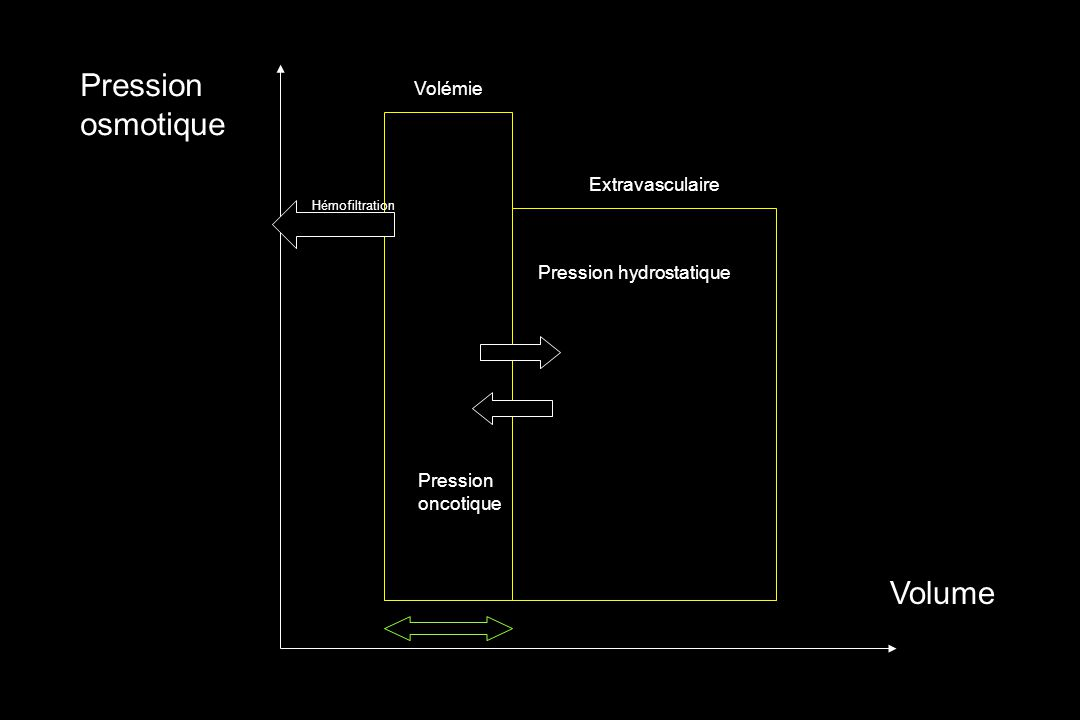 Pression osmotique Volume Pression hydrostatique Pression oncotique Volémie Extravasculaire Hémofiltration