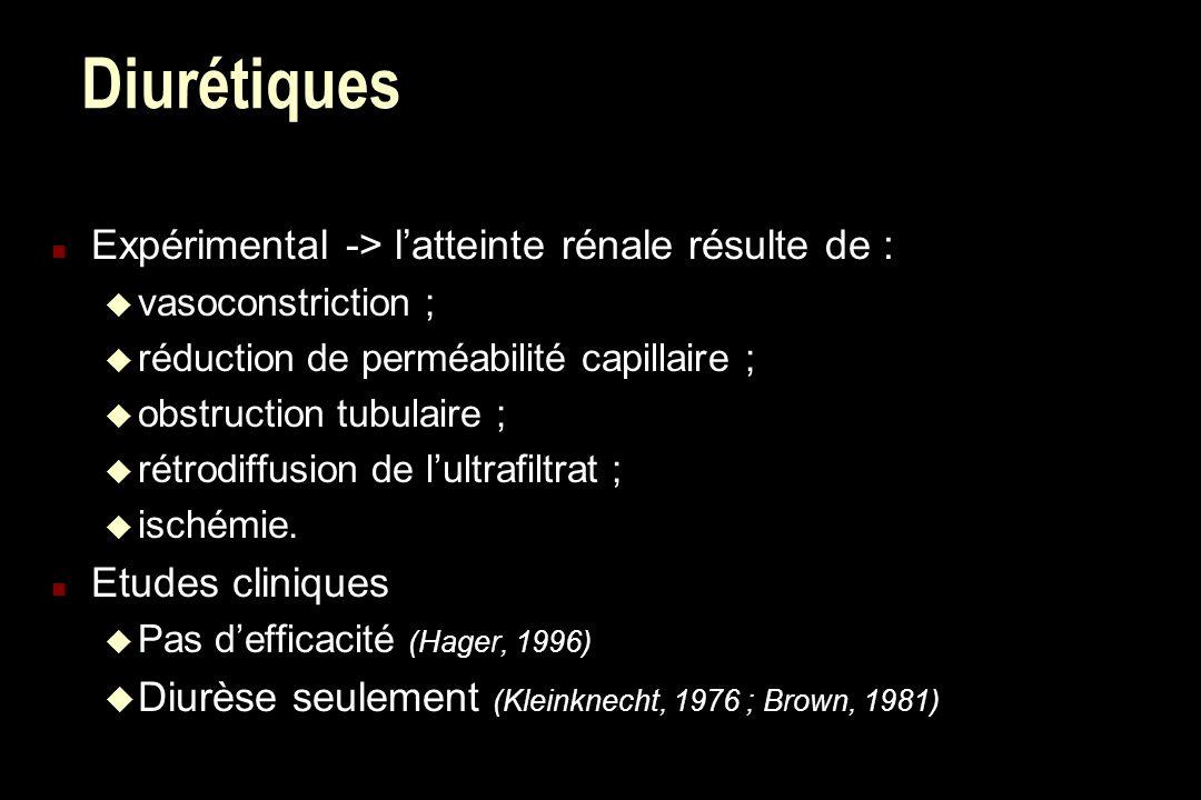 Diurétiques n Expérimental -> latteinte rénale résulte de : u vasoconstriction ; u réduction de perméabilité capillaire ; u obstruction tubulaire ; u