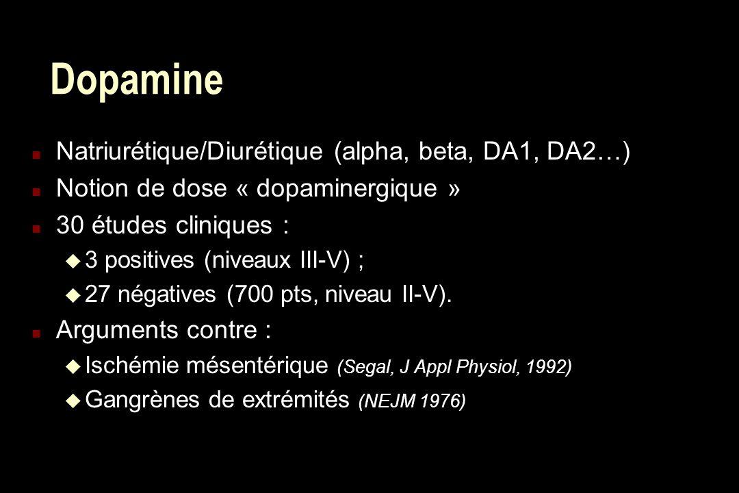 Dopamine n Natriurétique/Diurétique (alpha, beta, DA1, DA2…) n Notion de dose « dopaminergique » n 30 études cliniques : u 3 positives (niveaux III-V)