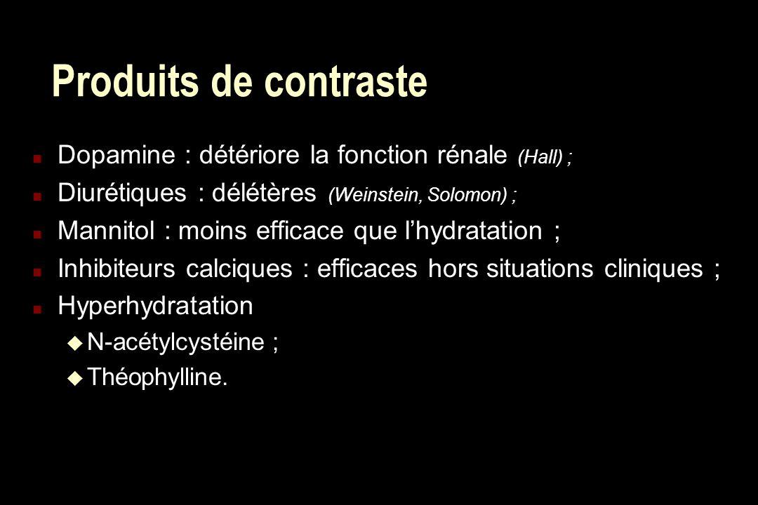 Produits de contraste n Dopamine : détériore la fonction rénale (Hall) ; n Diurétiques : délétères (Weinstein, Solomon) ; n Mannitol : moins efficace