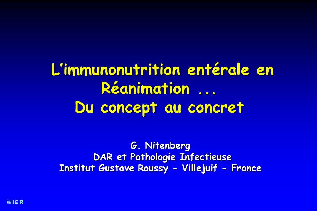 Atkinson S et al Crit Care Med 1998; 26 : 1164-72 Analyse de survie (Kaplan-Meier) en intention-de-traiter (gauche ; p = 0,36, log-rank) en intention-de-traiter (gauche ; p = 0,36, log-rank) Impact Immunonutrition entérale en réa et survie en nutrition entérale efficace (droite ; p = 0,16, log-rank) en nutrition entérale efficace (droite ; p = 0,16, log-rank)