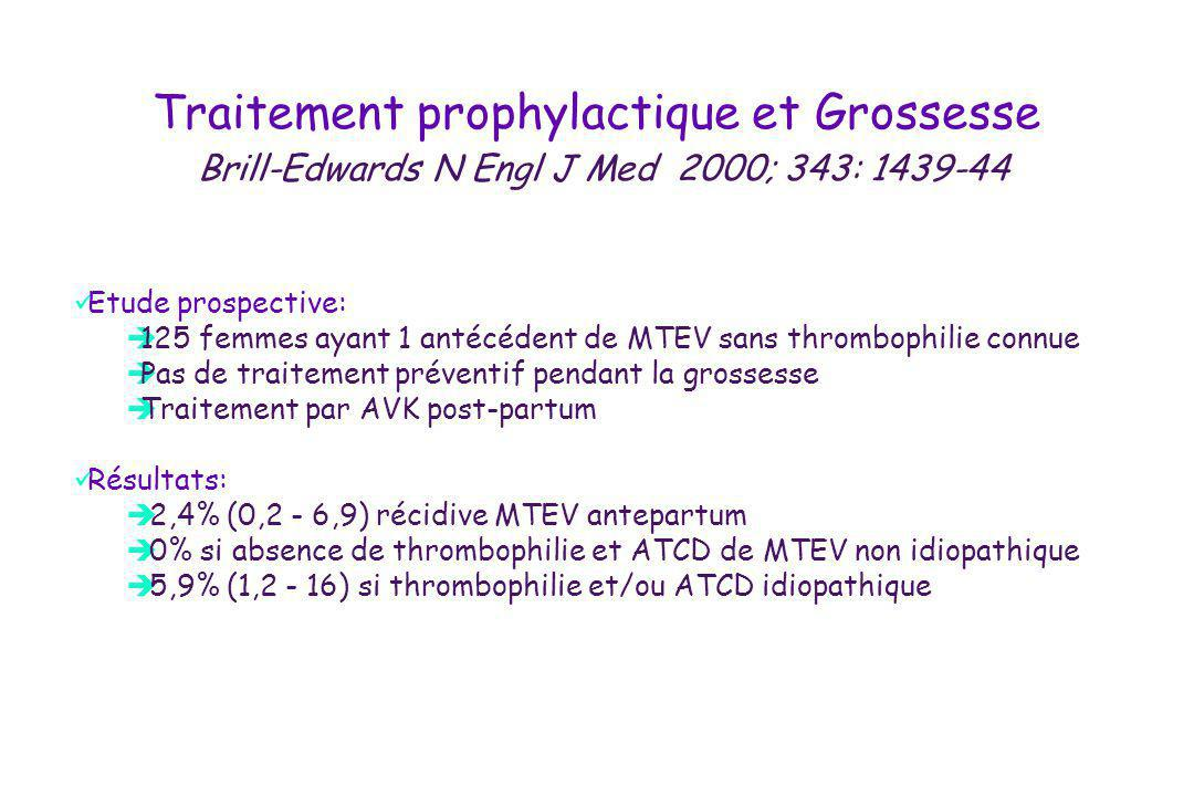 Traitement prophylactique et Grossesse Brill-Edwards N Engl J Med 2000; 343: 1439-44 Etude prospective: 125 femmes ayant 1 antécédent de MTEV sans thr