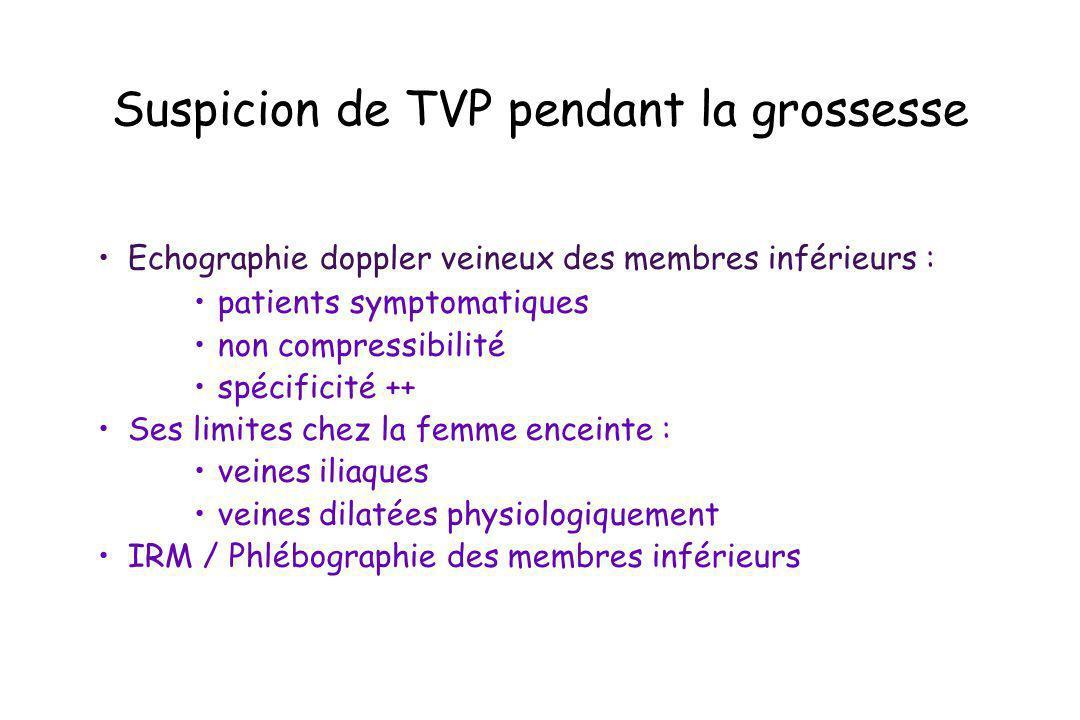 Suspicion de TVP pendant la grossesse Echographie doppler veineux des membres inférieurs : patients symptomatiques non compressibilité spécificité ++
