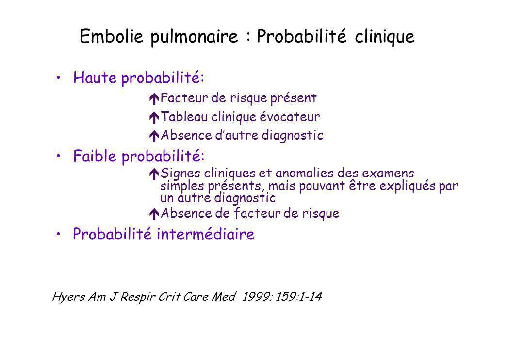 Embolie pulmonaire : Probabilité clinique Haute probabilité: éFacteur de risque présent éTableau clinique évocateur éAbsence dautre diagnostic Faible