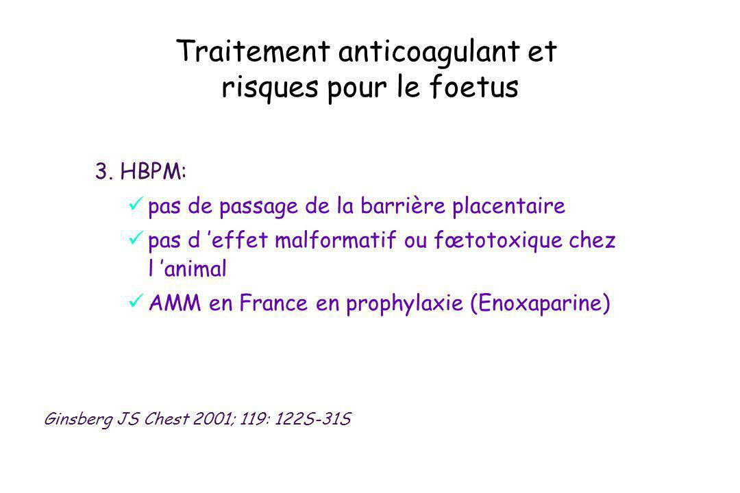 Traitement anticoagulant et risques pour le foetus 3. HBPM: pas de passage de la barrière placentaire pas d effet malformatif ou fœtotoxique chez l an