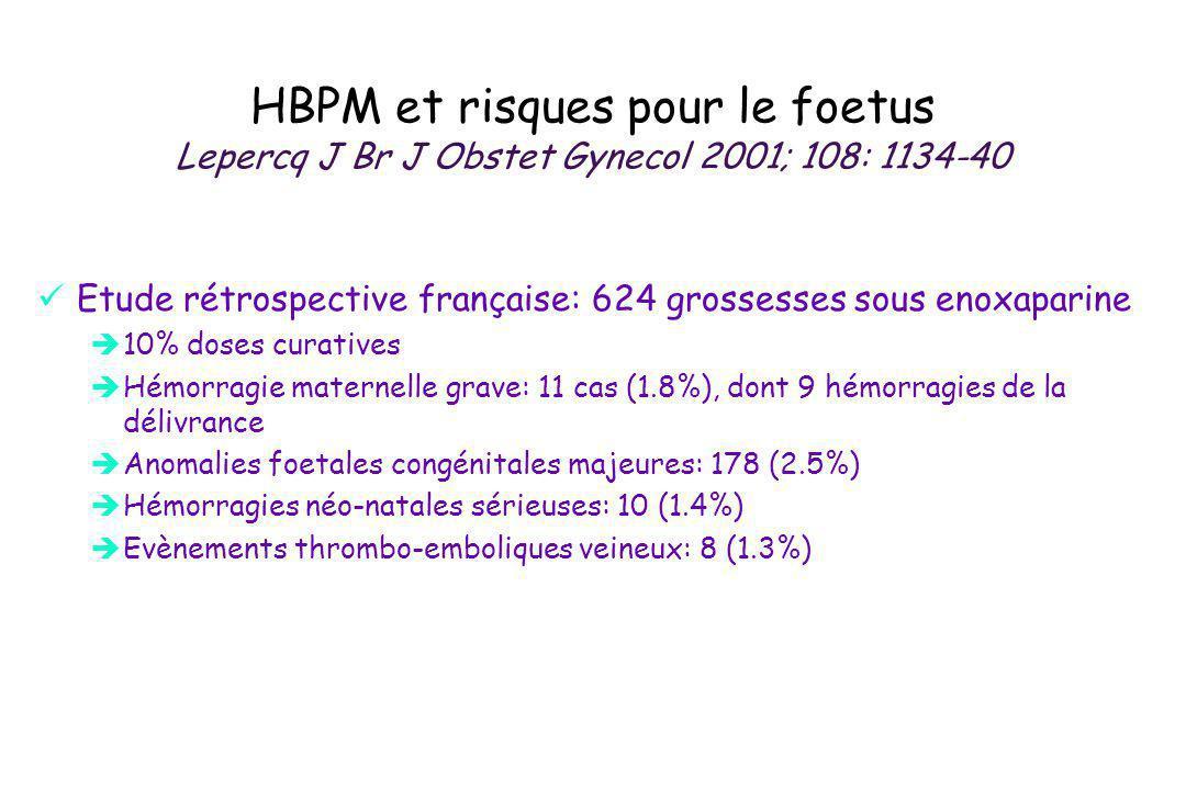 HBPM et risques pour le foetus Lepercq J Br J Obstet Gynecol 2001; 108: 1134-40 Etude rétrospective française: 624 grossesses sous enoxaparine 10% dos