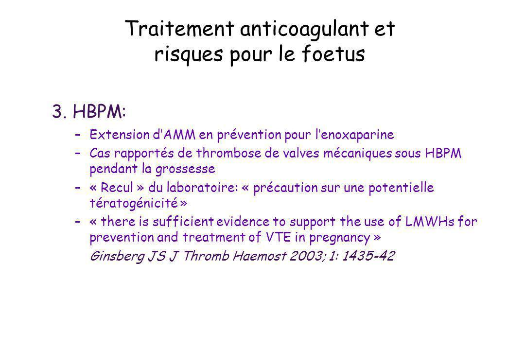 Traitement anticoagulant et risques pour le foetus 3. HBPM: –Extension dAMM en prévention pour lenoxaparine –Cas rapportés de thrombose de valves méca