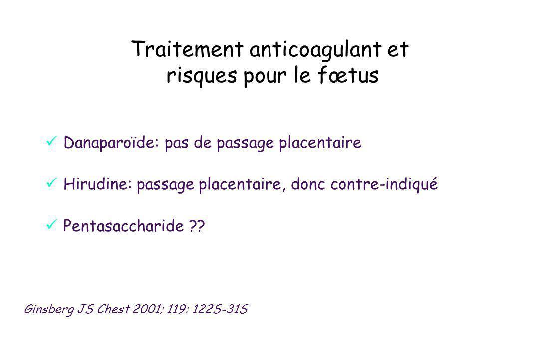 Danaparoïde: pas de passage placentaire Hirudine: passage placentaire, donc contre-indiqué Pentasaccharide ?? Traitement anticoagulant et risques pour