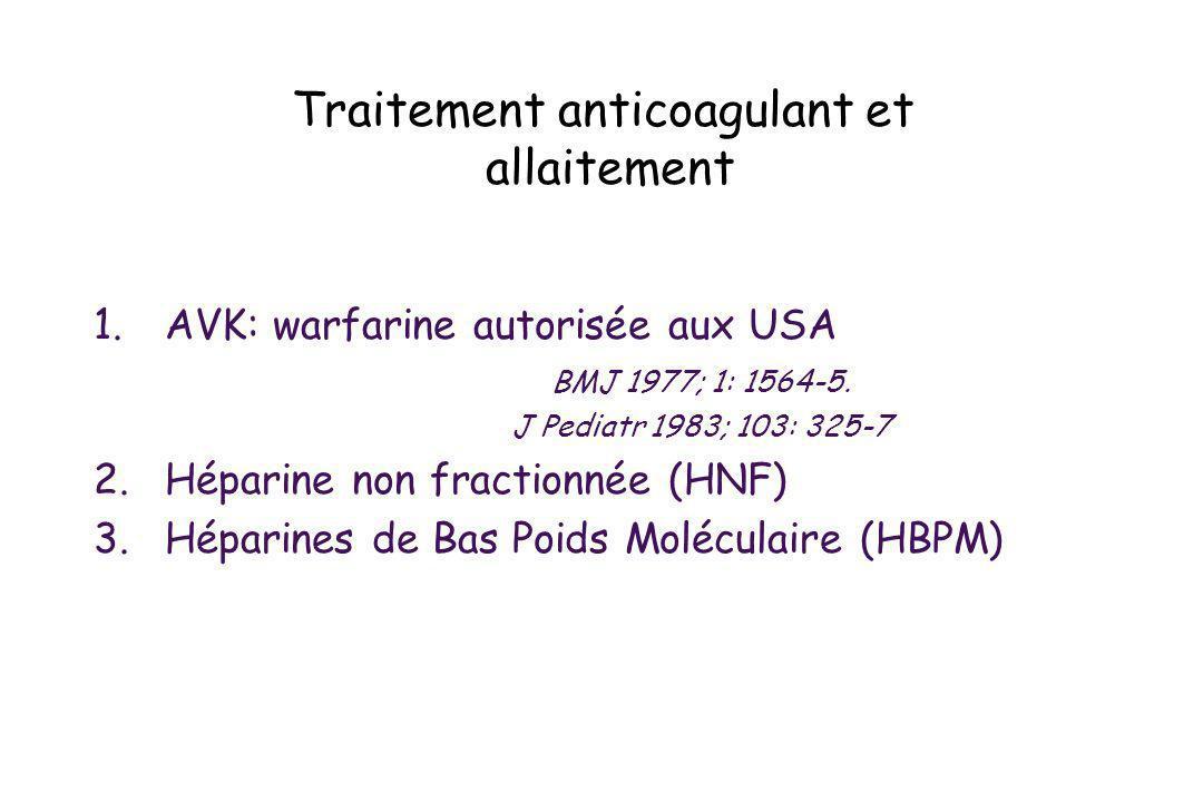 Traitement anticoagulant et allaitement 1.AVK: warfarine autorisée aux USA BMJ 1977; 1: 1564-5. J Pediatr 1983; 103: 325-7 2.Héparine non fractionnée