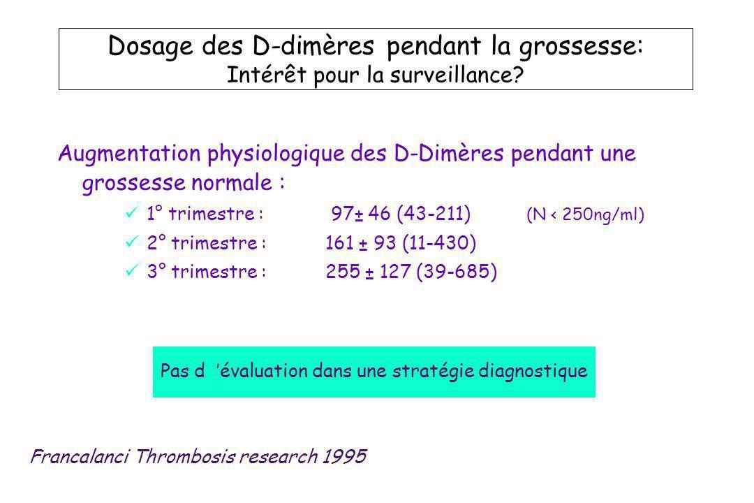 Dosage des D-dimères pendant la grossesse: Intérêt pour la surveillance? Augmentation physiologique des D-Dimères pendant une grossesse normale : 1° t