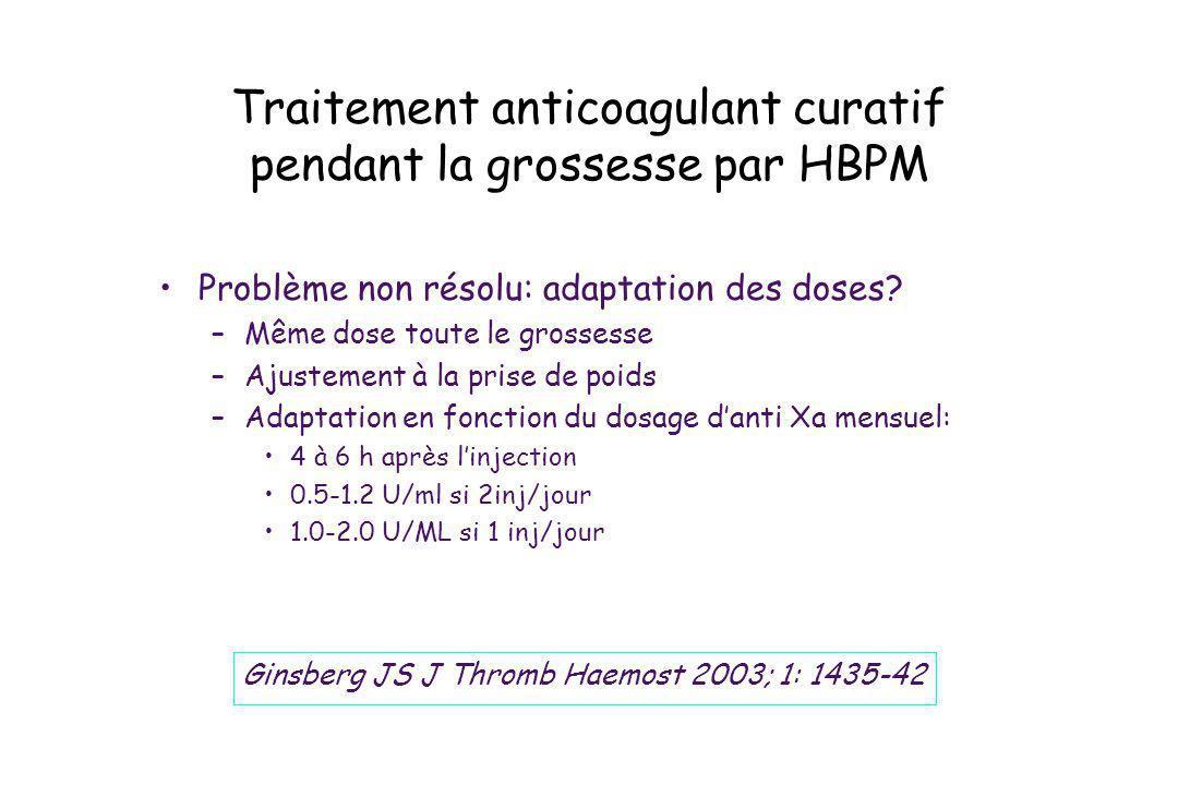 Traitement anticoagulant curatif pendant la grossesse par HBPM Problème non résolu: adaptation des doses? –Même dose toute le grossesse –Ajustement à