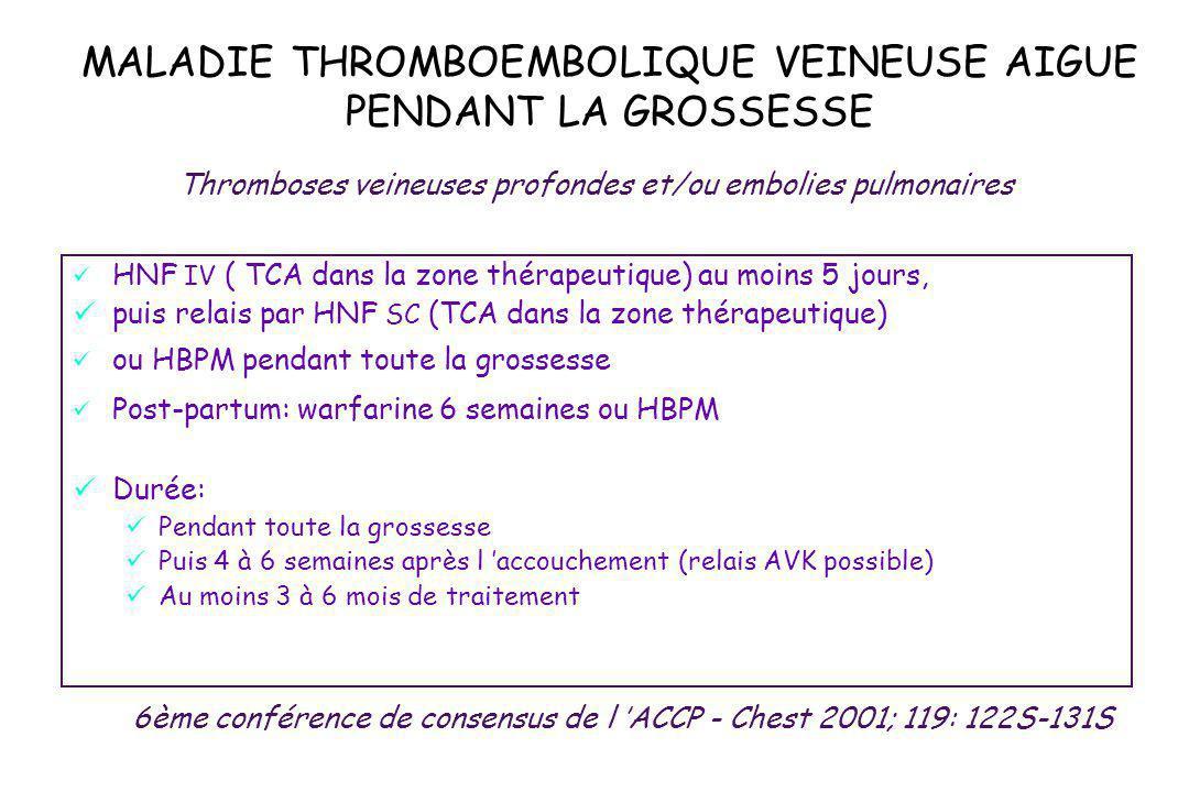MALADIE THROMBOEMBOLIQUE VEINEUSE AIGUE PENDANT LA GROSSESSE HNF IV ( TCA dans la zone thérapeutique) au moins 5 jours, puis relais par HNF SC (TCA da