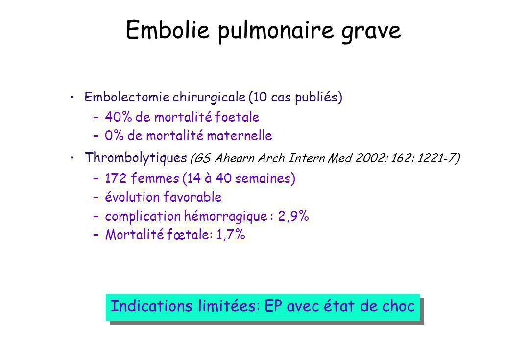 Embolie pulmonaire grave Embolectomie chirurgicale (10 cas publiés) –40% de mortalité foetale –0% de mortalité maternelle Thrombolytiques (GS Ahearn A