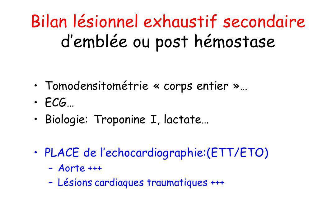 Bilan lésionnel exhaustif secondaire demblée ou post hémostase Tomodensitométrie « corps entier »… ECG… Biologie: Troponine I, lactate… PLACE de lecho