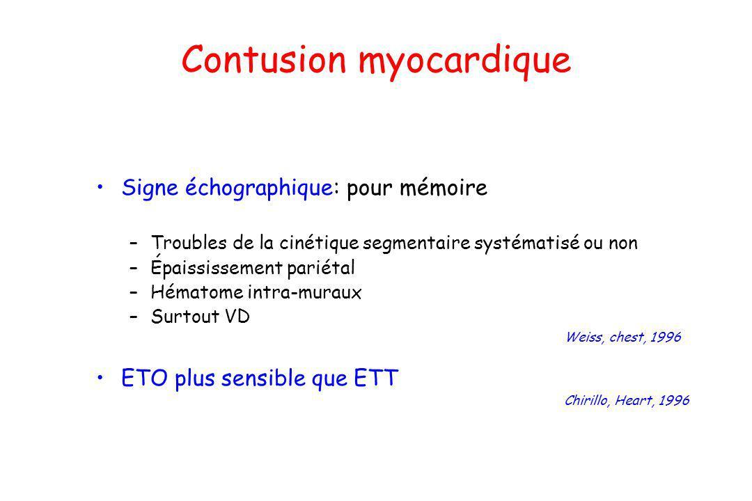 Contusion myocardique Signe échographique: pour mémoire –Troubles de la cinétique segmentaire systématisé ou non –Épaississement pariétal –Hématome in