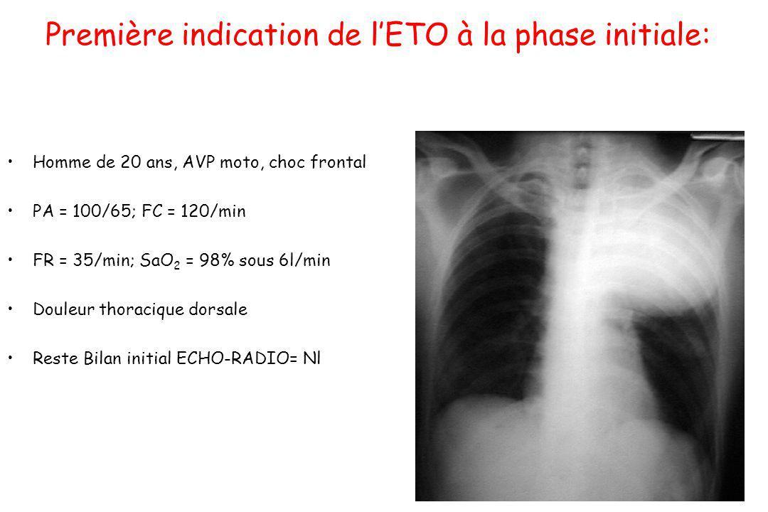 Première indication de lETO à la phase initiale: Homme de 20 ans, AVP moto, choc frontal PA = 100/65; FC = 120/min FR = 35/min; SaO 2 = 98% sous 6l/mi