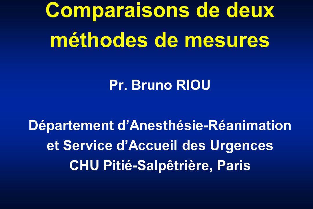 Comparaisons de deux méthodes de mesures Pr. Bruno RIOU Département dAnesthésie-Réanimation et Service dAccueil des Urgences CHU Pitié-Salpêtrière, Pa