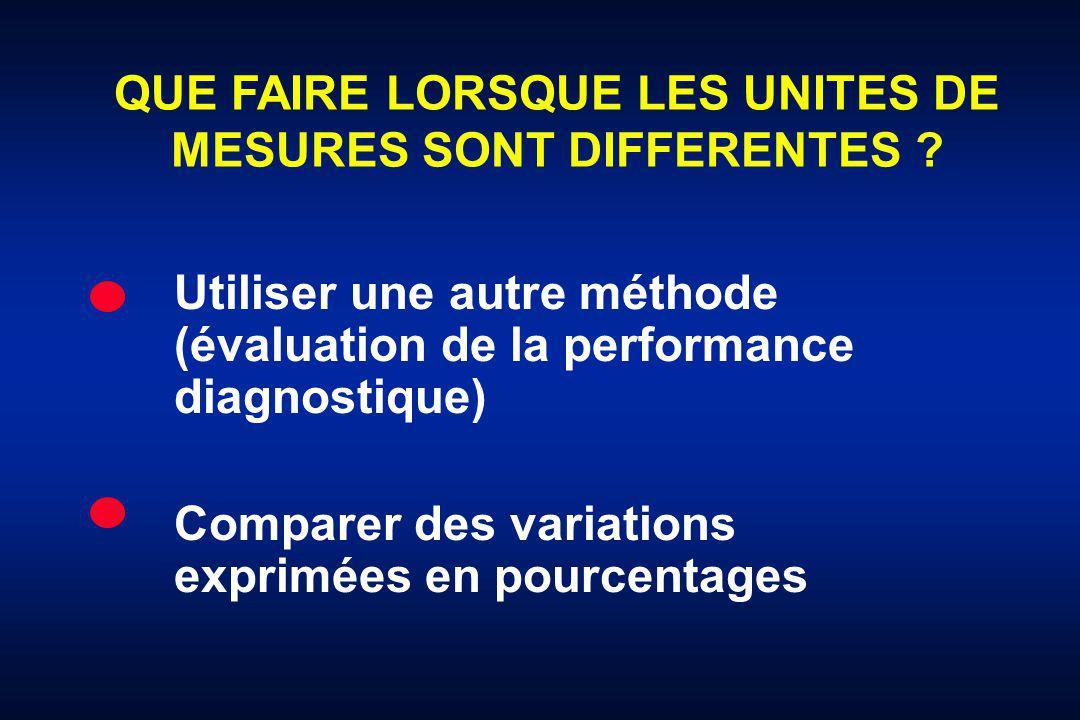 QUE FAIRE LORSQUE LES UNITES DE MESURES SONT DIFFERENTES ? Utiliser une autre méthode (évaluation de la performance diagnostique) Comparer des variati