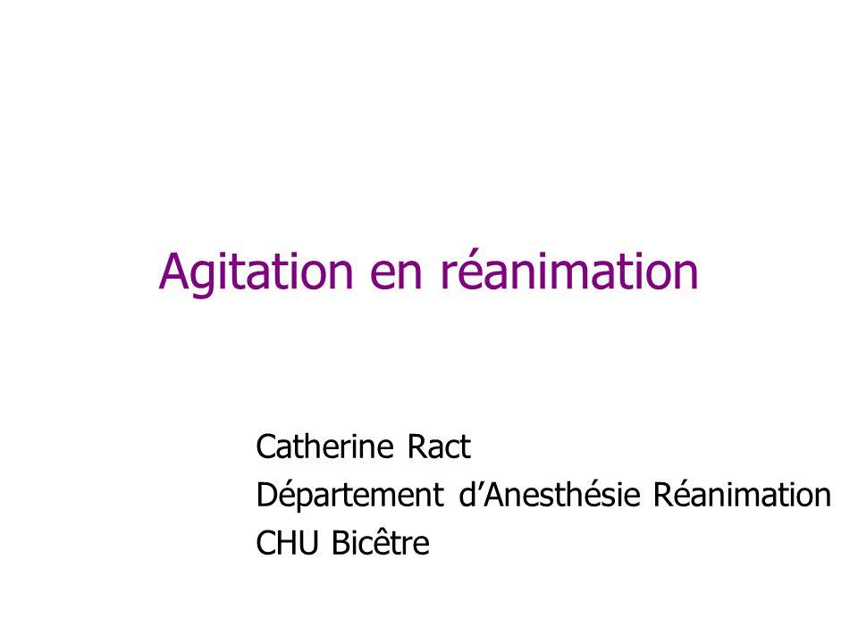 Agitation en réanimation Catherine Ract Département dAnesthésie Réanimation CHU Bicêtre