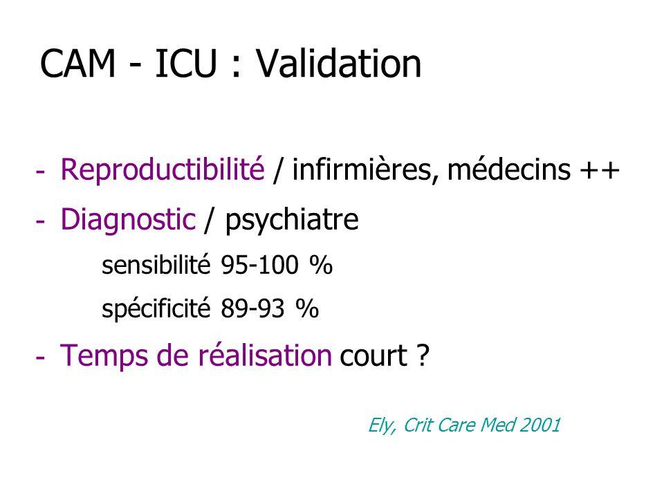 CAM - ICU : Validation - Reproductibilité / infirmières, médecins ++ - Diagnostic / psychiatre sensibilité 95-100 % spécificité 89-93 % - Temps de réa