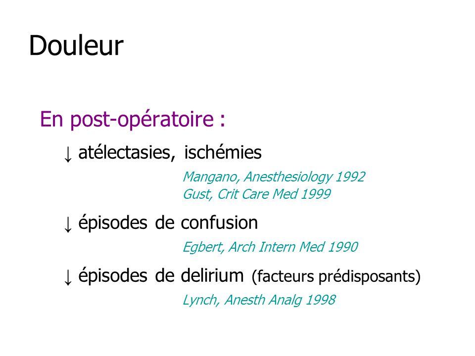 Douleur En post-opératoire : atélectasies, ischémies Mangano, Anesthesiology 1992 Gust, Crit Care Med 1999 épisodes de confusion Egbert, Arch Intern M