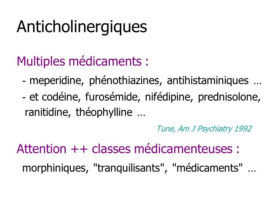 Anticholinergiques Multiples médicaments : - meperidine, phénothiazines, antihistaminiques … - et codéine, furosémide, nifédipine, prednisolone, ranitidine, théophylline … Tune, Am J Psychiatry 1992 Attention ++ classes médicamenteuses : morphiniques, tranquilisants , médicaments …