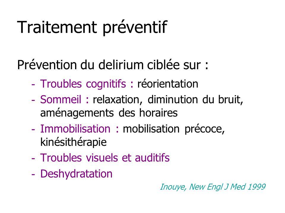 Traitement préventif Prévention du delirium ciblée sur : - Troubles cognitifs : réorientation - Sommeil : relaxation, diminution du bruit, aménagement