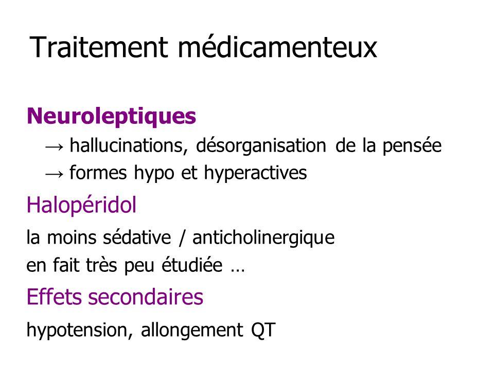Traitement médicamenteux Neuroleptiques hallucinations, désorganisation de la pensée formes hypo et hyperactives Halopéridol la moins sédative / antic