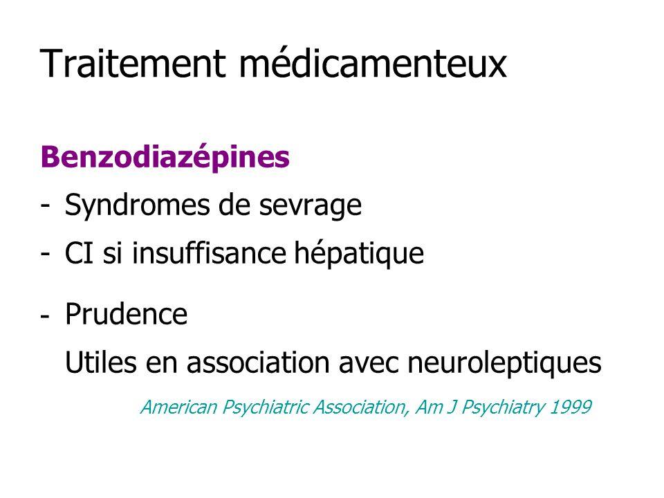Traitement médicamenteux Benzodiazépines -Syndromes de sevrage -CI si insuffisance hépatique - Prudence Utiles en association avec neuroleptiques American Psychiatric Association, Am J Psychiatry 1999