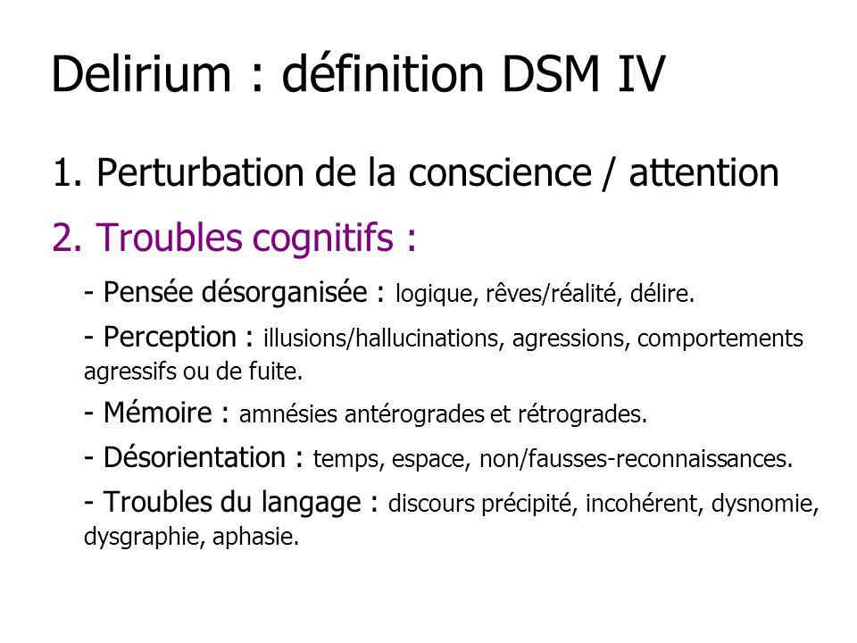 1. Perturbation de la conscience / attention 2. Troubles cognitifs : - Pensée désorganisée : logique, rêves/réalité, délire. - Perception : illusions/