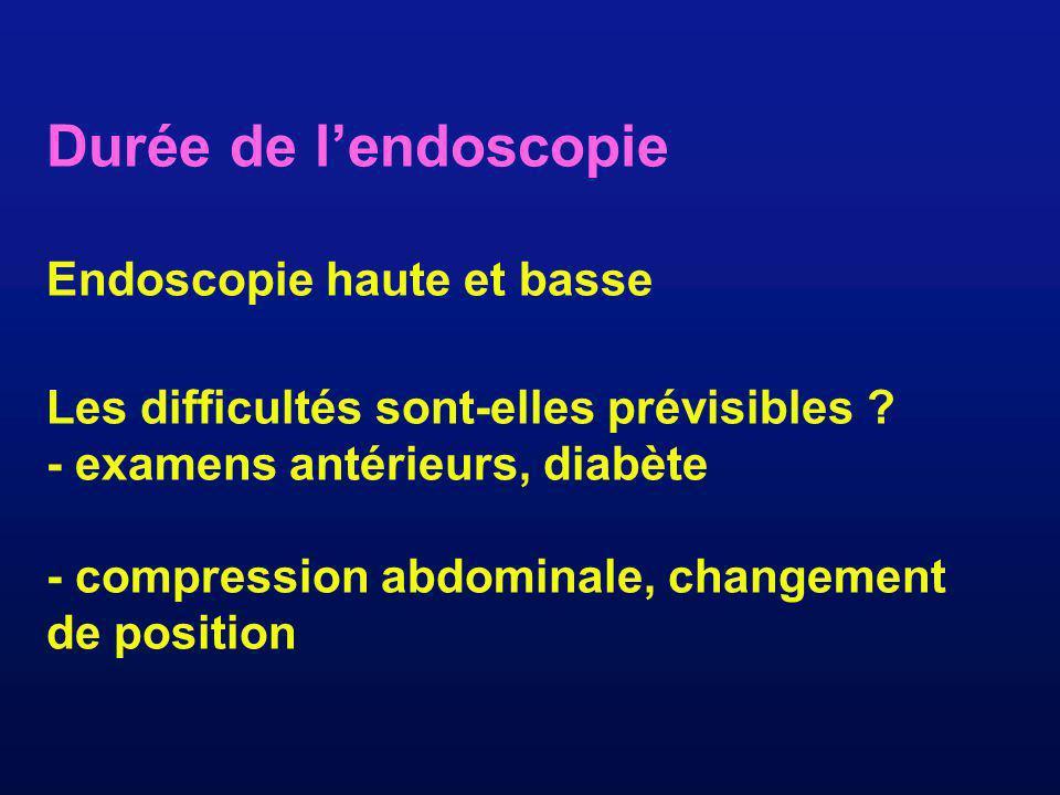 Durée de lendoscopie Endoscopie haute et basse Les difficultés sont-elles prévisibles ? - examens antérieurs, diabète - compression abdominale, change