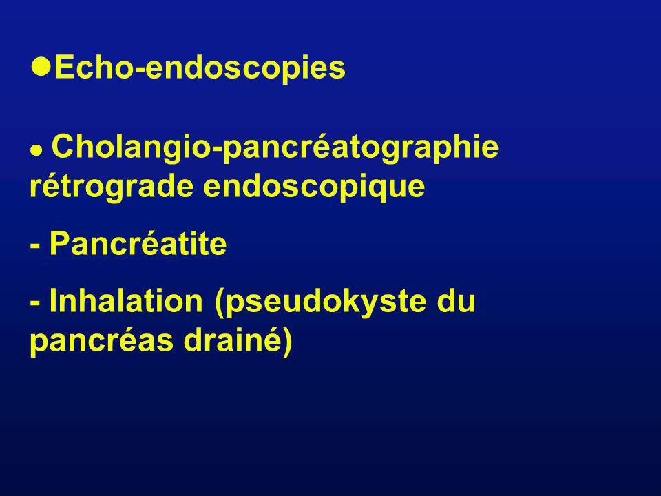 Echo-endoscopies Cholangio-pancréatographie rétrograde endoscopique - Pancréatite - Inhalation (pseudokyste du pancréas drainé)