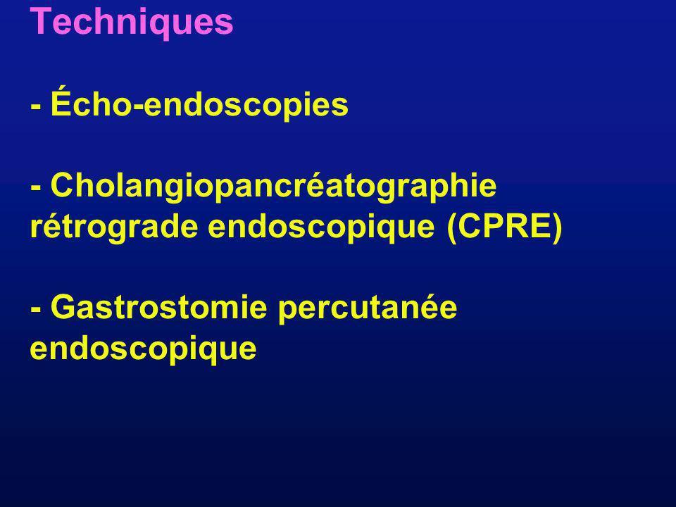 Techniques - Écho-endoscopies - Cholangiopancréatographie rétrograde endoscopique (CPRE) - Gastrostomie percutanée endoscopique