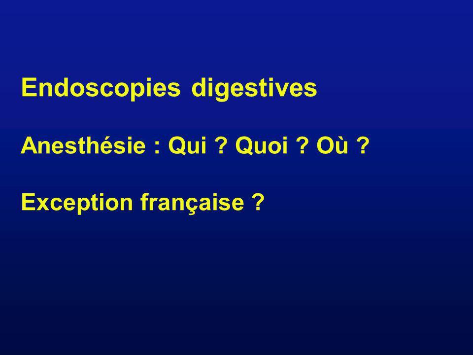 Endoscopies digestives Anesthésie : Qui ? Quoi ? Où ? Exception française ?