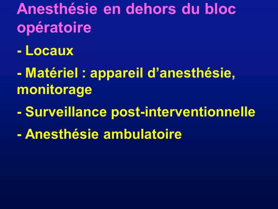 Anesthésie en dehors du bloc opératoire - Locaux - Matériel : appareil danesthésie, monitorage - Surveillance post-interventionnelle - Anesthésie ambu