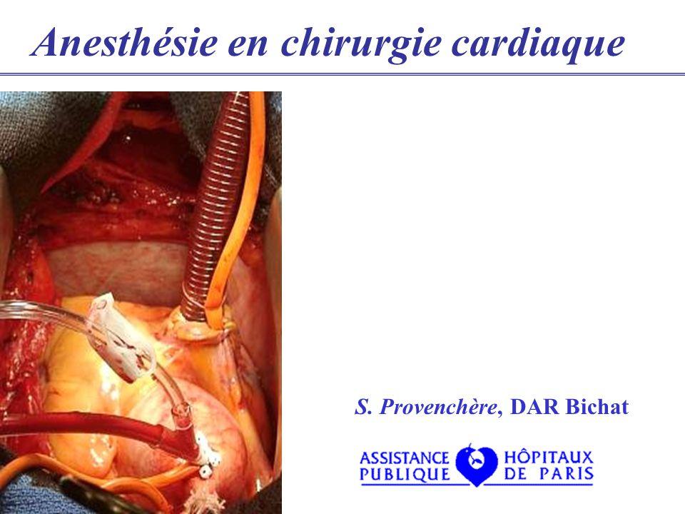 Différentes interventions Pontage aorto-coronarien Chirurgie valvulaire Aorte thoracique Transplantation Tumeurs Tamponnade Cardiopathie congénitale divers: P.C.C., E.P.