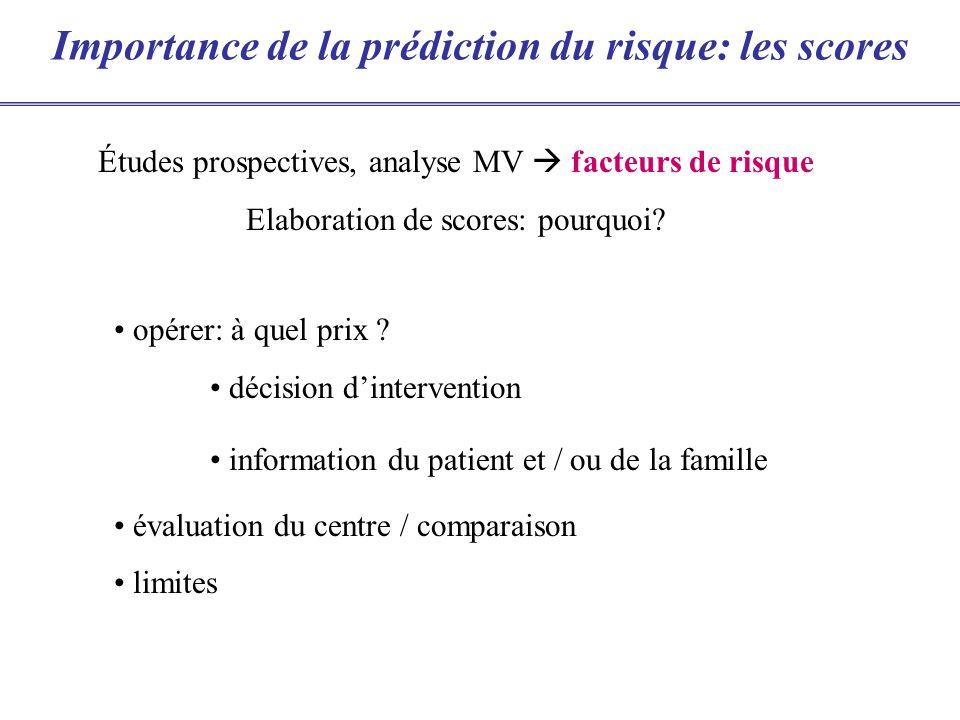 Importance de la prédiction du risque: les scores opérer: à quel prix ? décision dintervention information du patient et / ou de la famille évaluation