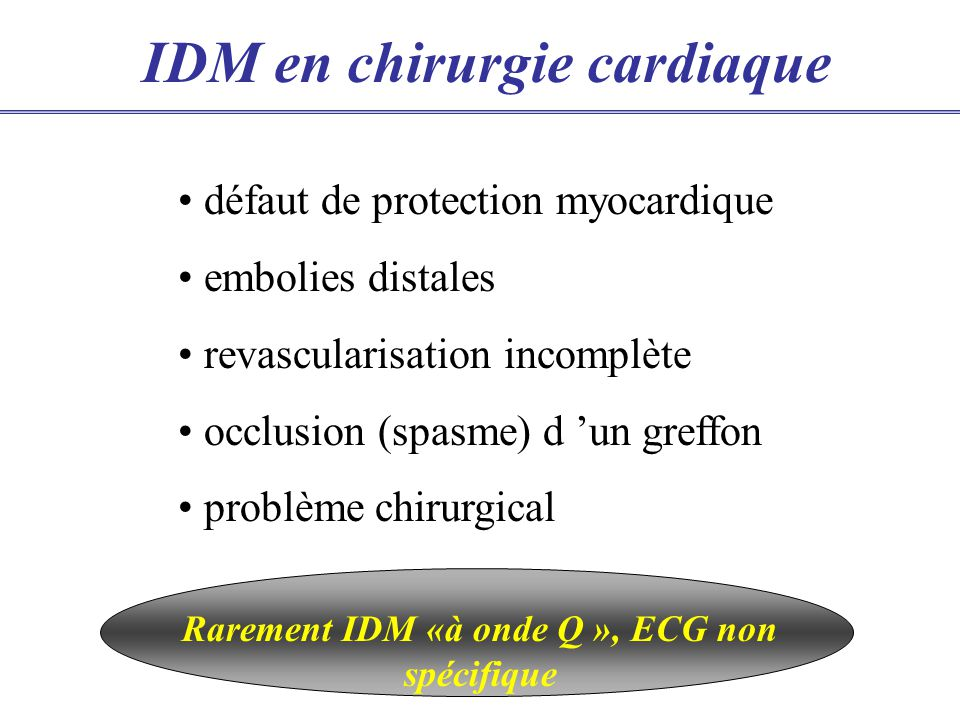 IDM en chirurgie cardiaque défaut de protection myocardique embolies distales revascularisation incomplète occlusion (spasme) d un greffon problème chirurgical Rarement IDM «à onde Q », ECG non spécifique