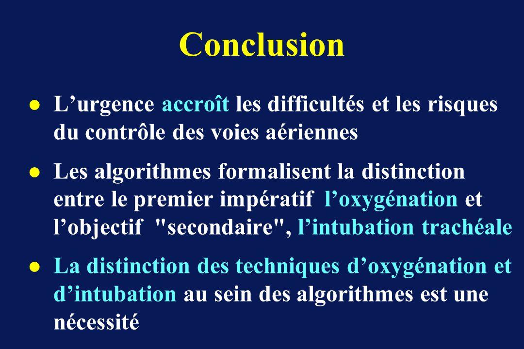 Conclusion l Lurgence accroît les difficultés et les risques du contrôle des voies aériennes l Les algorithmes formalisent la distinction entre le premier impératif loxygénation et lobjectif secondaire , lintubation trachéale l La distinction des techniques doxygénation et dintubation au sein des algorithmes est une nécessité