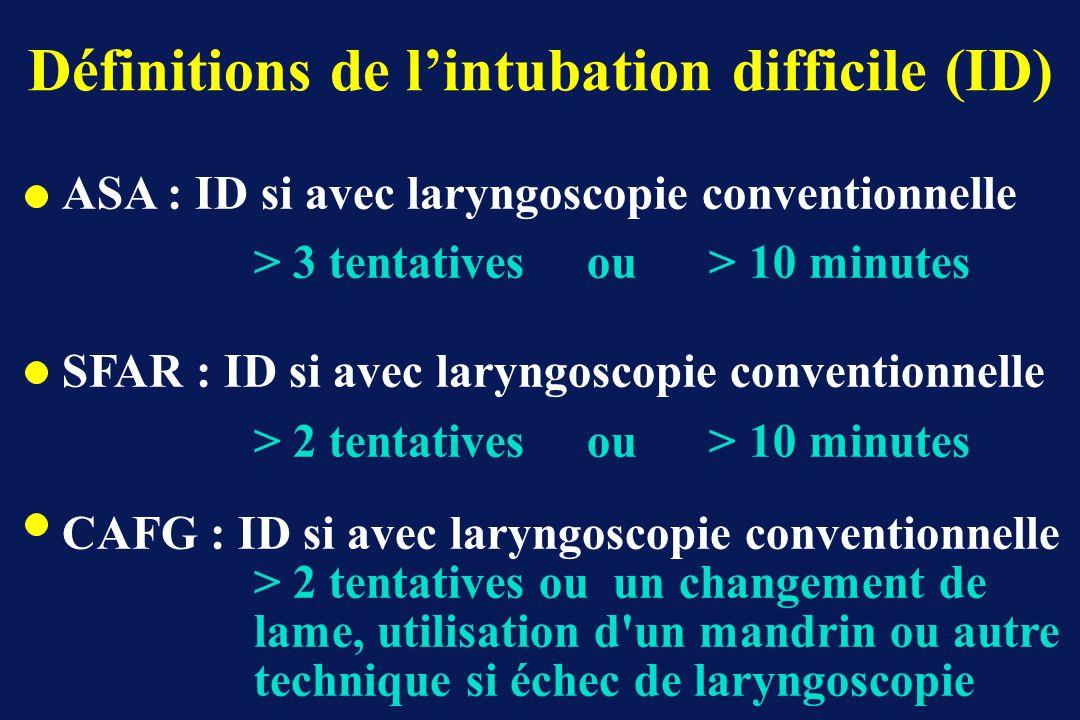 Définitions de lintubation difficile (ID) ASA : ID si avec laryngoscopie conventionnelle > 3 tentatives ou > 10 minutes SFAR : ID si avec laryngoscopi