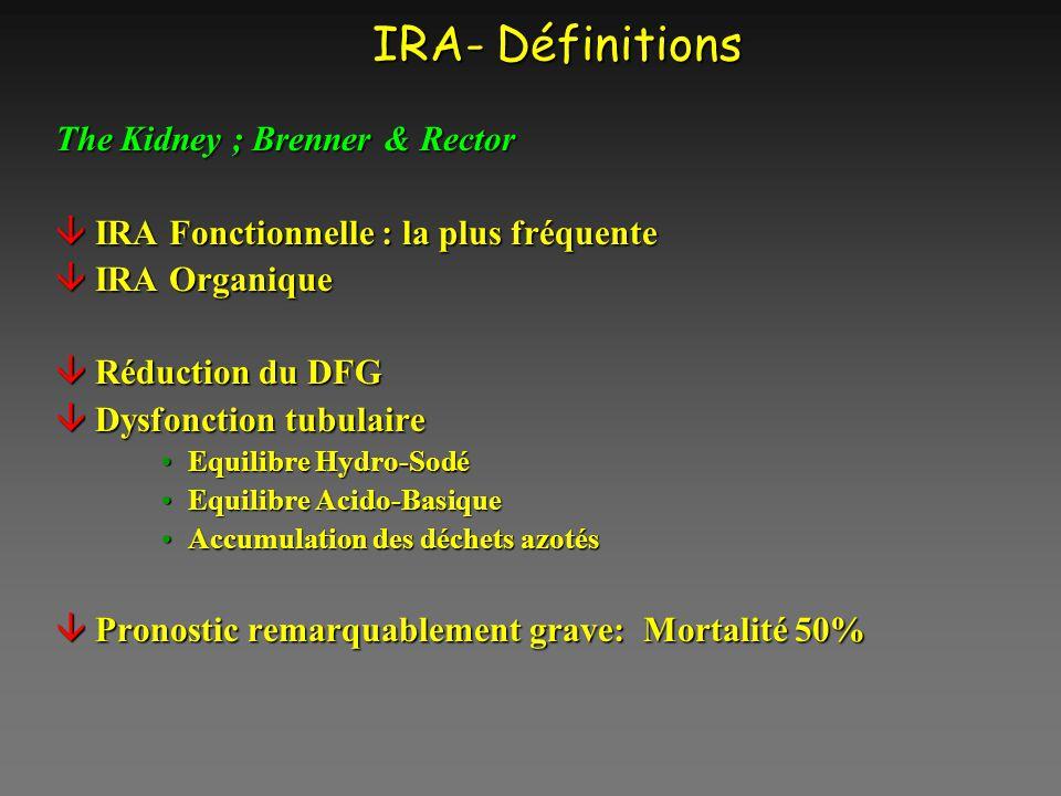 IRA- Définitions The Kidney ; Brenner & Rector âIRA Fonctionnelle : la plus fréquente âIRA Organique âRéduction du DFG âDysfonction tubulaire Equilibr