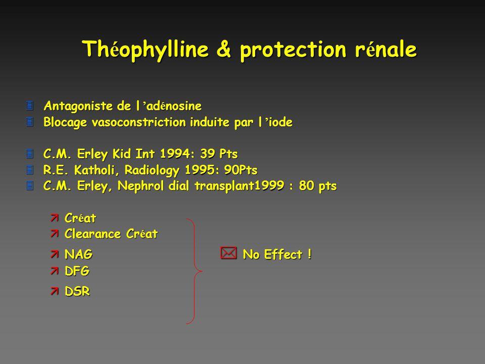 Th é ophylline & protection r é nale Antagoniste de l ad é nosine Antagoniste de l ad é nosine Blocage vasoconstriction induite par l iode Blocage vas